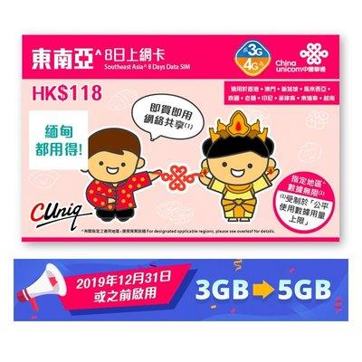 中國聯通8日柬埔寨,菲律賓及8個東南亞4G/3G無限上網卡數據卡Sim卡 - 到期日:30/06/2020