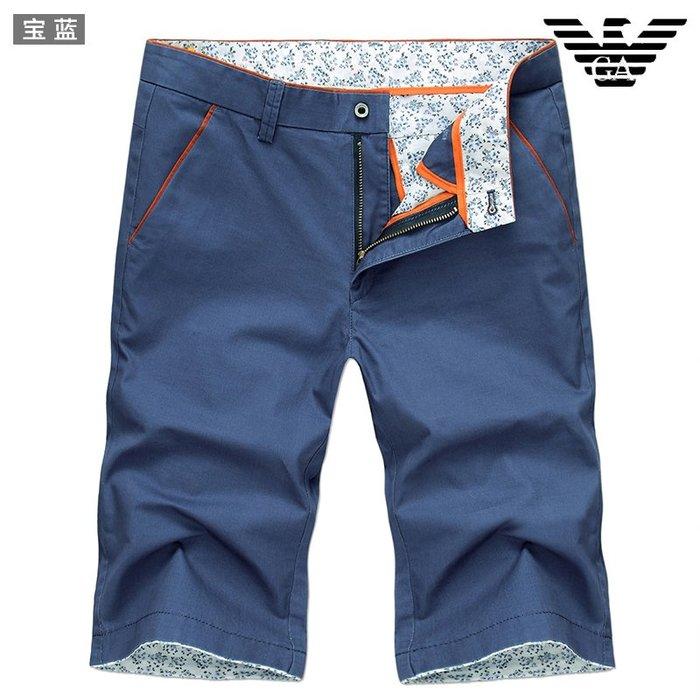 創意 寬鬆 潮流夏季男士五分褲阿瑪尼青年潮流百搭純棉彈力中腰休閑短褲男裝薄款