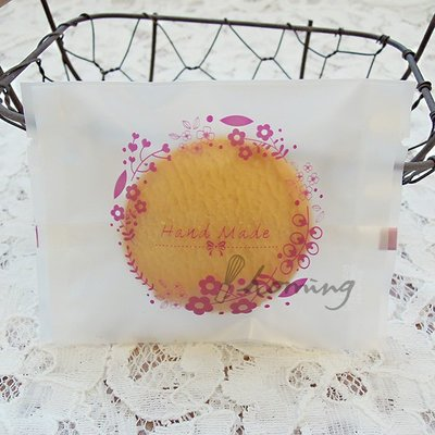 【homing】(7 X 9.5)hand made繽紛花圈霧面烘焙點心西點包裝袋/餅乾袋/甜點袋/牛軋餅/雪Q餅-紫色