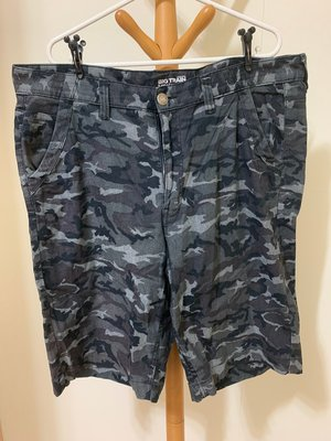 衣市藍~BIG TRAIN 休閒短褲 (W40~迷彩~) (210707)