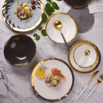 廚房用品 餐具 餐盤 碗 焗飯碗彩色瓷碗家用喝湯吃飯的碗成人個性歐式復古拌飯碗面碗大號