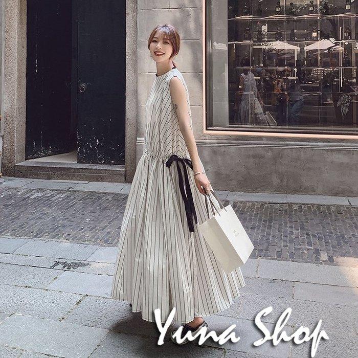 ☆YUNA SHOP☆法式優雅女神風條紋拼色綁帶連身裙洋裝長裙 兩件免運費