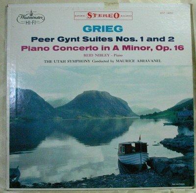黑膠 Grieg : Peer Gynt Suites Nos. 1&2, Piano Concerto (美Westminster)