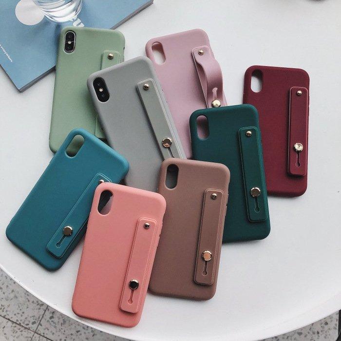 ♥現貨♥簡約莫蘭迪系素面手機殼保護套全軟殼/金屬釦環/支架/手腕帶 IPHONE11 pro max _XR XS