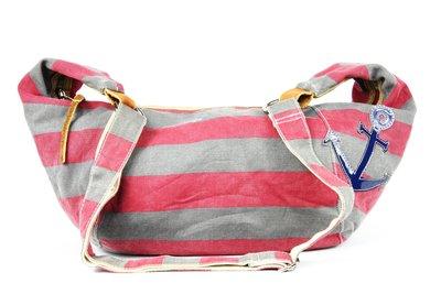 【古物箱~霹靂膠囊】日本品牌 帆布 橫條紋 海軍風 手提包 (老件 二手 古著)