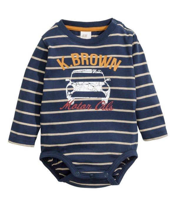 *小豆仔的屋Dou Dou House*歐洲瑞典H&M童裝/長袖汽車條紋連身包屁衣(現貨+預購)