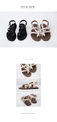 ☀APPLE SHOP☀ 米白色 羅馬條紋交錯涼鞋
