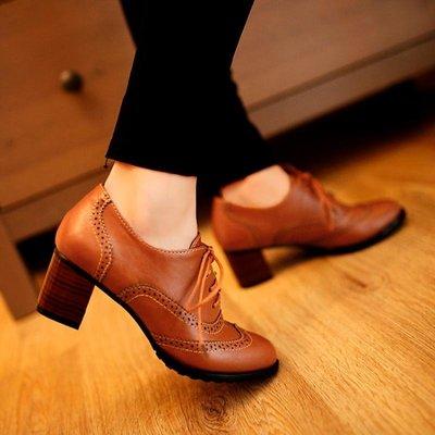 牛津鞋女 秋冬季新款英倫牛津鞋復古粗跟休閑系帶高跟鞋百搭小皮鞋 LN6878