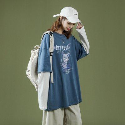 白t內搭疊穿打底衫wine Studio藍色2021新款寬松假兩件長袖t恤女