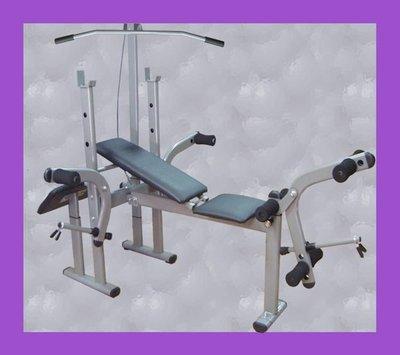 【奇力健身館】多功能的重量訓練舉重床,功能齊全,高拉、蝴蝶臂、二頭肌板、抬腳架