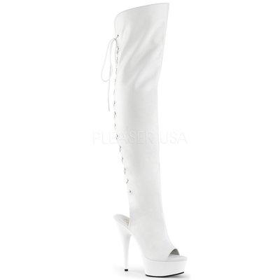 Shoes InStyle《六吋》美國品牌 PLEASER 原廠正品厚底高跟魚口過膝長筒馬靴 有大尺碼『白色』