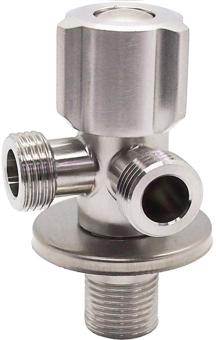 『沐雰衛浴』YS-503 90度304不鏽鋼 不銹鋼 拉絲面 雙出口 三角凡爾 凡而 水閥 開關 4分 接口 馬桶 軟管