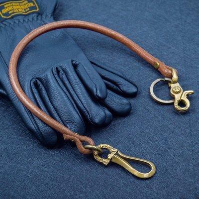 造夢師 手工製作  阿美咔嘰 復古 養牛 純黃銅 閃電鉤 牛皮皮繩財布鏈 鑰匙鏈 褲鏈 腰鍊