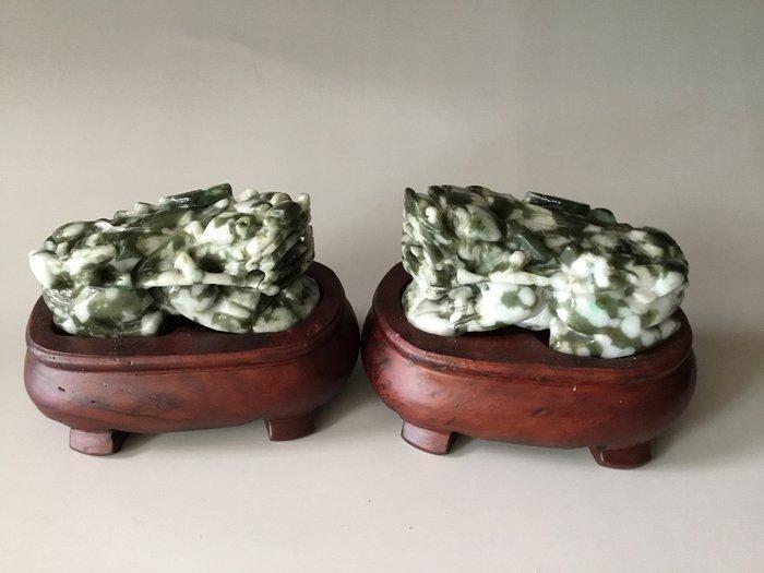 *藏雅軒*早期收藏老件-緬甸玉雕刻擺件-老花青-招財貔貅對組