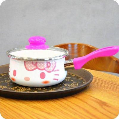 hello kitty可愛卡通搪瓷煮面鍋 奶鍋 kt貓電磁爐煮面鍋