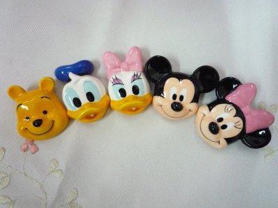 花見雜貨~日本進口全新正版迪士尼米奇米妮唐老鴨黛西維尼立體造型臉型頭型磁器陶瓷筷架5入