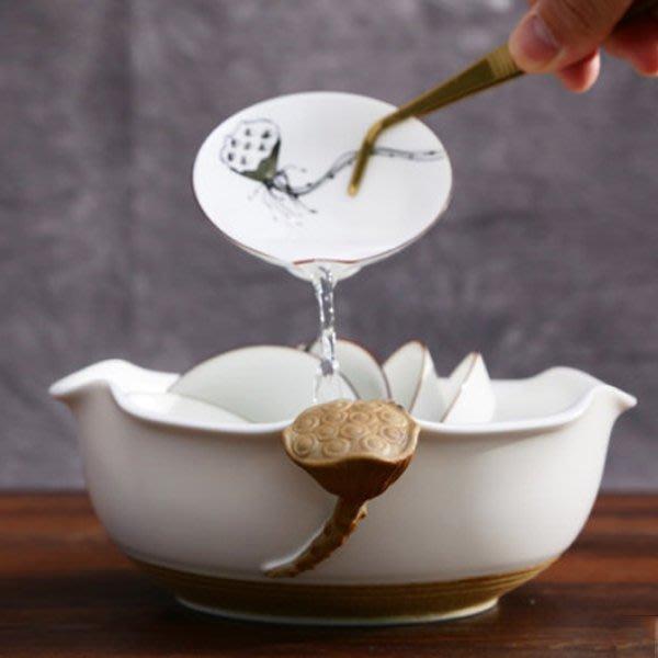 5Cgo【茗道】含稅會員有優惠 524831432279 中國白瓷茶洗陶瓷功夫茶具白瓷荷蓮茶洗大號茶洗脂白亞光定窯