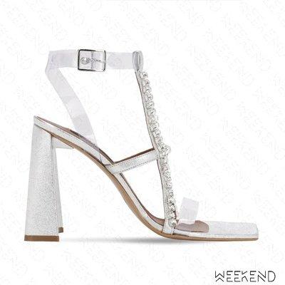 【WEEKEND】 AREA 水晶 皮革 PVC 方頭 高跟 涼鞋