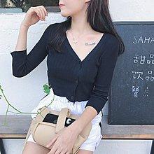 正韓夏季女裝復古港味chic風個性斜領針織衫單排扣空調衫開衫外套