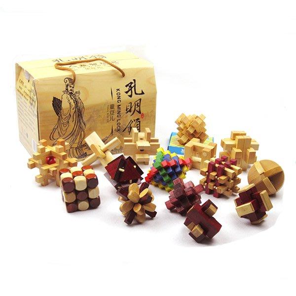 包郵 成人益智智力玩具孔明鎖解鎖解環禮盒16件套帶說明書益智動手動腦玩具幫助寶寶開發智力