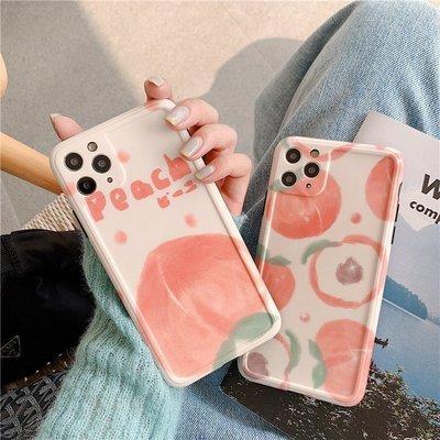 現貨  可開發票Q水蜜桃圖案 適用11pro Max蘋果x手機殼iphone8plus硅膠xr軟xs全包7P女款 手機殼