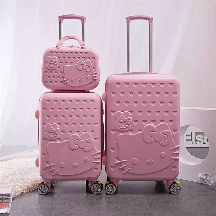 凱蒂貓旅行箱(升級版大+小套裝)、行李箱、登機箱、飛機輪、28寸(免運)