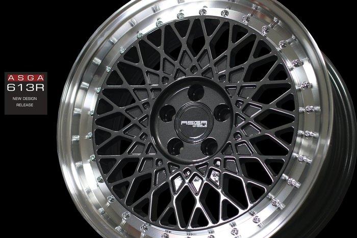 【凱達輪胎鋁圈館】ASGA 富特麗 613R 17吋 5/100 旋壓鑄造 復古風 石墨灰車邊 歡迎訊問