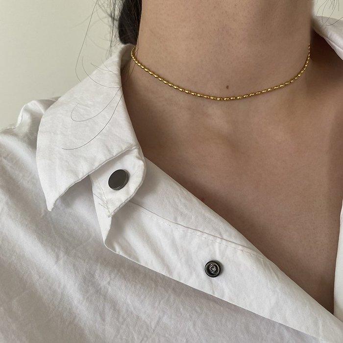 小米珠頸鍊 短鍊 [鈦鋼] 保色 防過敏 【IM009】