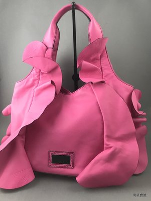 [我是寶琪] 關穎二手商品 Valentino Ruffled Nappa Hobo 粉紅包