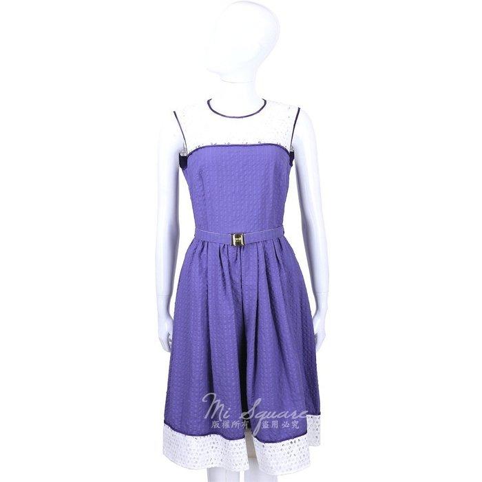 米蘭廣場 CLASS roberto cavalli 紫白色洞洞拼接無袖洋裝(附腰帶) 1520552-04