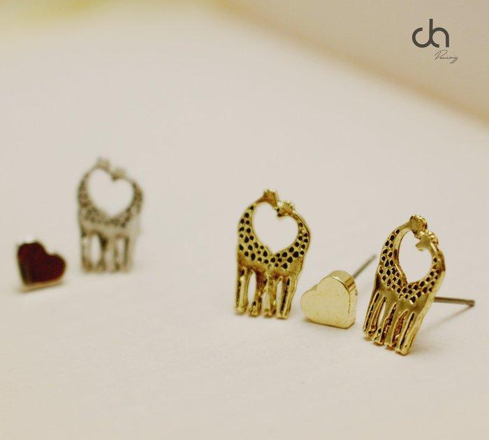 正韓墜入愛河長頸鹿雕刻愛的親親耳環三件組‧米絲小姐玩時尚
