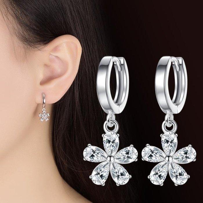 韓版鍍銀耳墜女百搭甜美雪梨花朵耳環 女款 時尚配飾 ps303 銀飾 耳飾