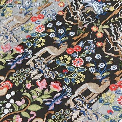 橙子的店 W217黑色網紗底彩色刺繡蕾絲布面料服裝輔料森林系連衣裙布料