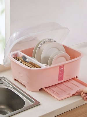 Ordinary shop 簡約 廚房用品  大號塑料透明帶蓋碗碟架 家用廚房裝碗筷收納盒水槽瀝水架居家必備