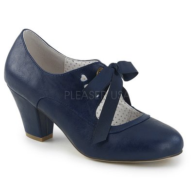 Shoes InStyle《二吋》美國品牌 PIN UP CONTURE 原廠正品瑪莉珍絲帶低跟包鞋 有大尺碼『深藍色』