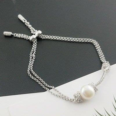 珍珠 手 鍊 925純銀手環-8.5mm優雅氣質情人節生日禮物女飾品73qn28[獨家進口][米蘭精品]