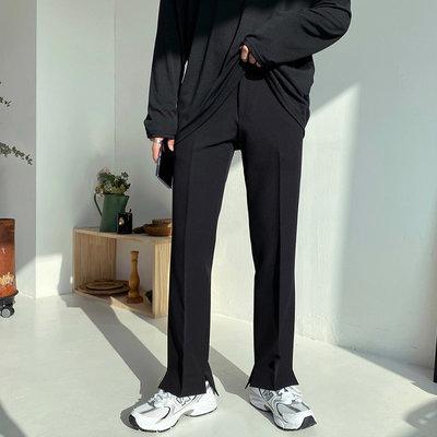 正韓男裝 前短後長褲管開岔休閒西褲 / HSE120 KOREALINE 搖滾星球