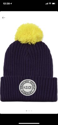澳洲 HERSCHEL SUPPLY CO Ribbed pom pom beanie hat(深藍黃球)(預購)