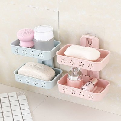 無痕雙層肥皂瀝水盒 肥皂盒 肥皂架-艾發現