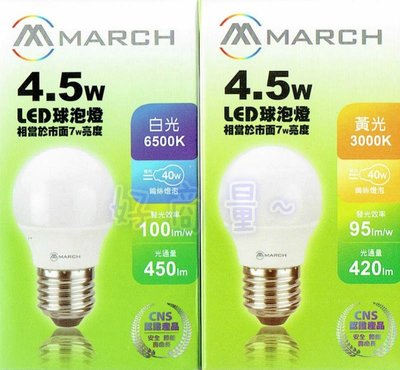 萬華好商量~MARCH LED 4.5W 燈泡 球泡燈 E27 全電壓 台北市