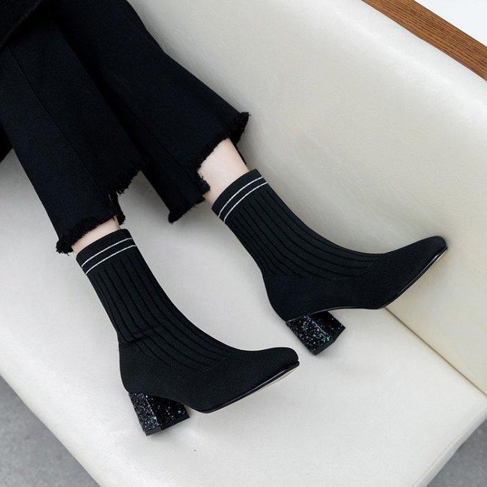 Fashion*襪靴 粗跟針織靴 短靴 高跟網紅瘦瘦靴 彈力靴『黑色』34-39碼