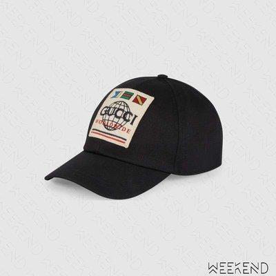 【WEEKEND】 GUCCI Worldwide 貼片 棒球帽 帽子 鴨舌帽 黑色 男女同款 599226