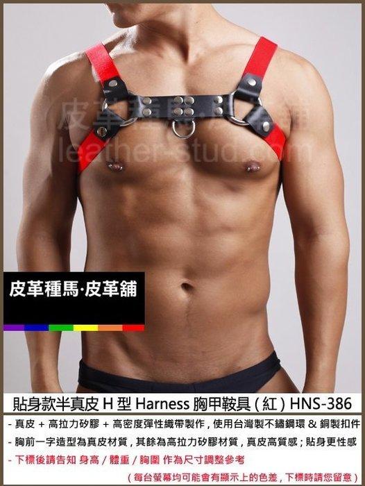 【OTOKO】Leather Stud皮革種馬:貼身款半真皮H型Harness胸甲鞍具(紅) HNS-386