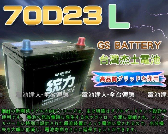 【電池達人】杰士 GS 70D23L 統力 汽車電池 + 3D隔熱套 豐田 本田 福特 起亞 現代 馬自達 速霸陸 裕隆
