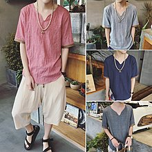 逆主流   夏季大碼中國風棉麻T恤寬鬆清涼亞麻薄款短袖T恤