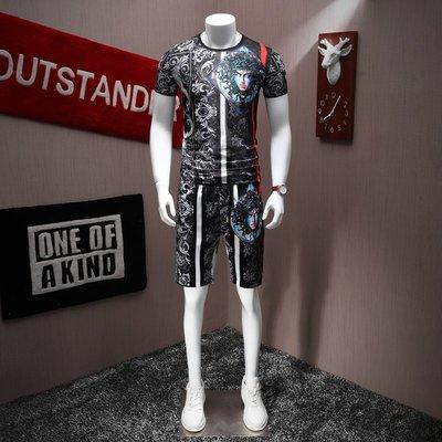 中國風 霸氣 冰絲 龍紋 型男男款短袖運動套裝短袖加T恤花色兩件套帥氣男裝夏裝時尚小衫