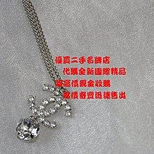 優買二手名牌店 CHANEL 限量 雙C 銀色 金屬 水鑽 COCO LOGO 垂墜 克拉 單鑽 項鍊 長鍊 全新商品