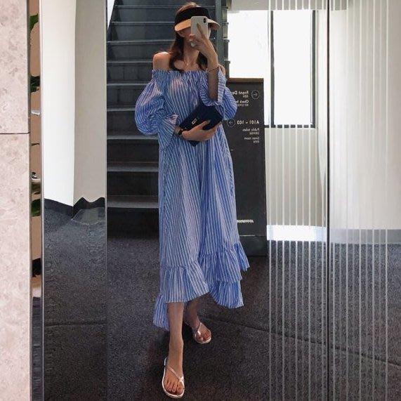 一字領~美美穿 一件式條紋洋裝 Born again 【boa0395】