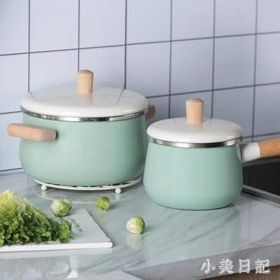 【新品上市】北歐小清新風牛奶鍋 琺瑯搪瓷木柄湯鍋泡面鍋家用不粘鍋 aj6078 〔可愛咔〕