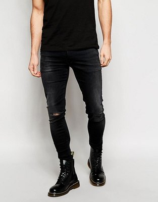 ASOS Extreme Super Skinny Jeans With Rip 極窄膝蓋破壞刷色黑牛仔褲 29腰